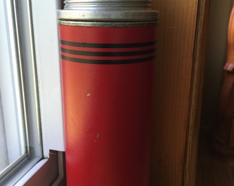 The American Thermos Bottle Co Icy Hot Thermos Red Black Stripes Mid Century Insulated Drink Container