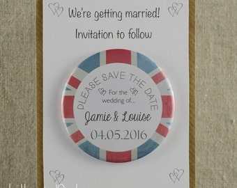 Save The Date Wedding Magnets - British - English Wedding - Union Jack - Wedding Invitation - Magnets - Wedding Stationery - Invitations