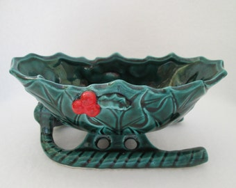 Vintage Lefton Small Sleigh Bowl Porcelain Ceramic Green Holly Leaves Red Holly Berries 4621 Japan