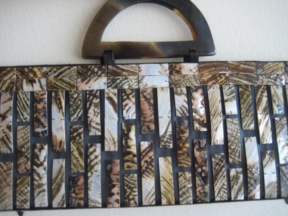 Tortoise Lucite Embellished Handbag by Mod