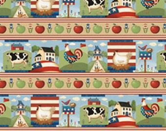 From The Heartland Repeating Border Stripe from South Sea by the yard