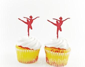 Glitter Ballerina Cupcake Toppers