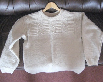 Knitted winter sweater, natural wool, unbleached, undyed.