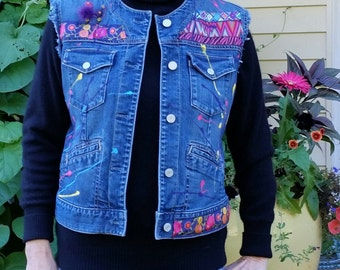 Fun Denim Vest from Recycled Jean Jacket