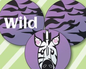 Zebra Cupcake Toppers,  Stickers, or Buttons, instant download, DIY PRINTABLE PDF
