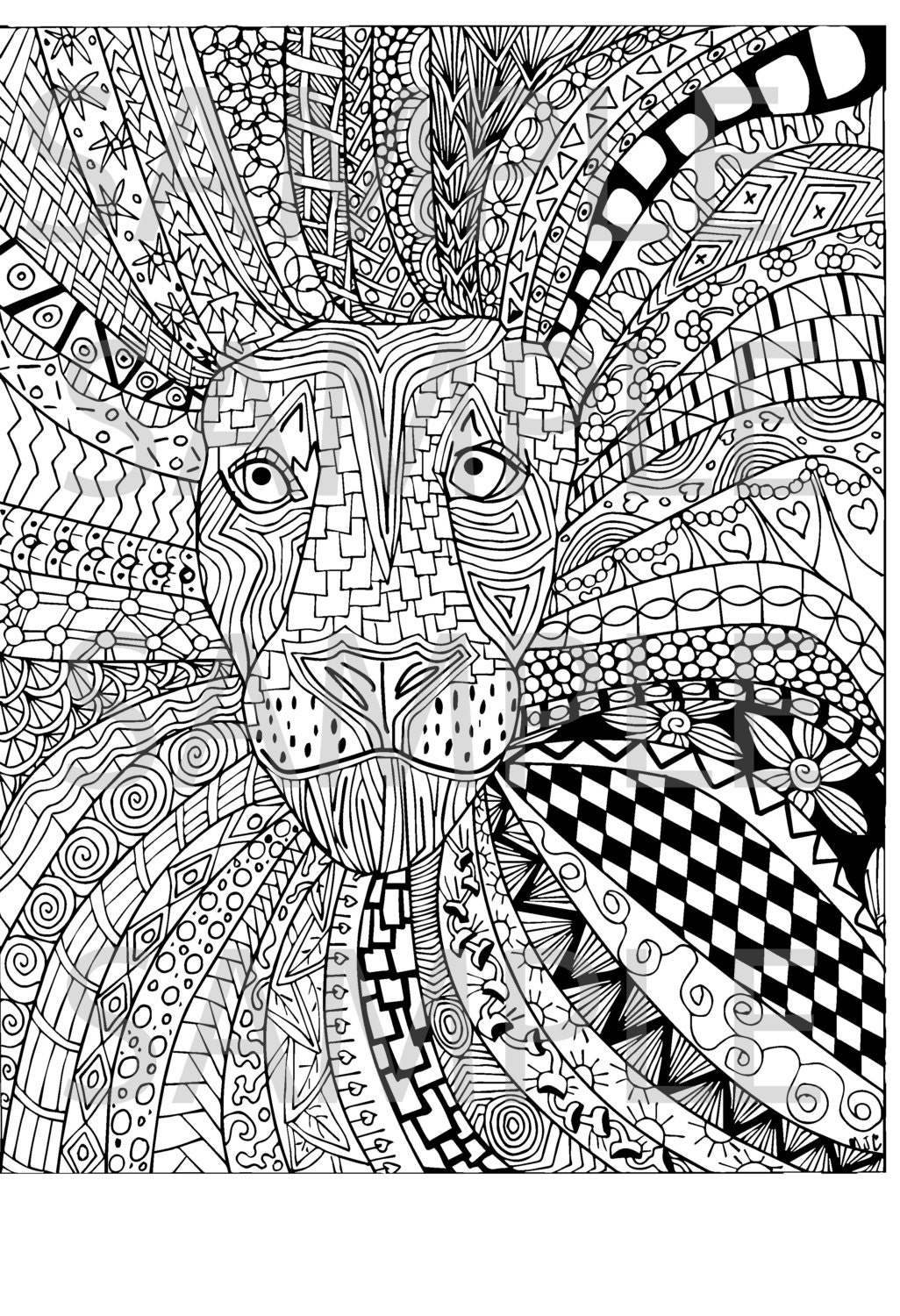 Lion Zentangle Adult Coloring Page Instant Download Ready to