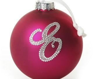 Personalised Hot Pink Bling Monogram Bauble