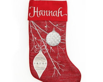 Personalised Red Bauble Christmas Stocking