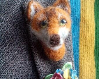 Ooak Needlefelt Fox Brooch