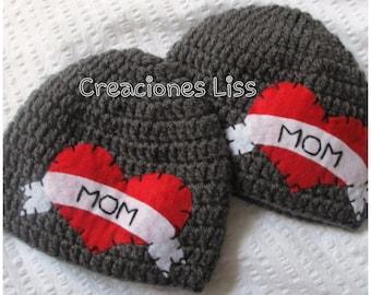 crochet beanie mom, gorro hecho a crochet con corazón, baby hat