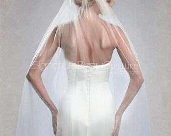 Cut Edge Fingertip Veil | Single Tier Wedding Veil | Fingertip Length Wedding Veil