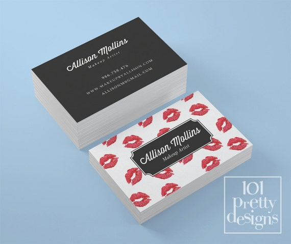 Lipsense business card kisses printable business card design red il570xn reheart Gallery