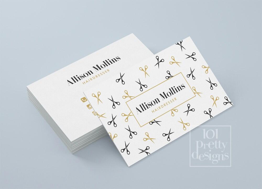 Hairdresser business card design golden business card