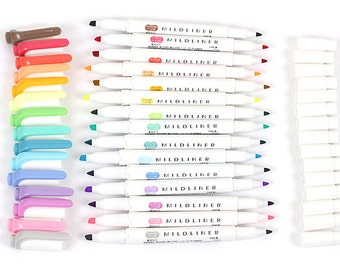 20 Color Full Set - Mildliner Soft Color Double Sided Highlighter