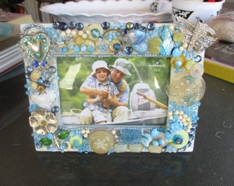 Jeweled Picture/Photo Frame Desktop Pale Blue and Yellow