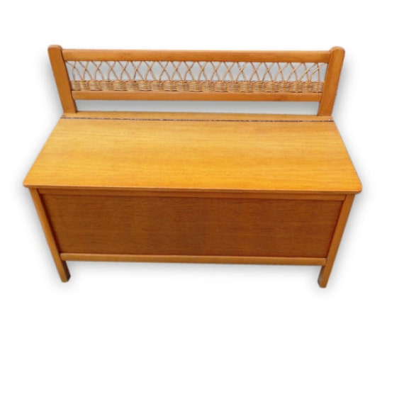 Bench Toy Chest Rattan Oak 1950 Vintage