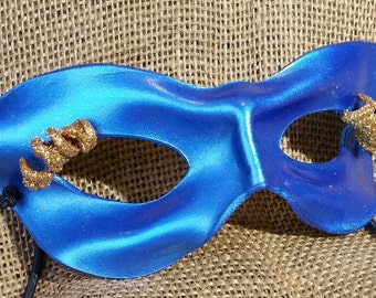 Handmade Leather Mask, Pearlescent Blue with Gold-Glittered Eyelashes