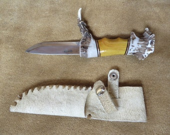 Osage orange and antler handled knife with Helle blade