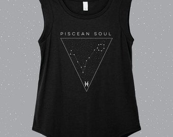 Piscean Soul | Pisces Sleeveless Shirt, astrology shirt, constellation shirt, Zodiac shirt, Zodiac clothes