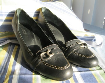Vintage Bally Pumps, Black Pumps, designer pumps, low heels