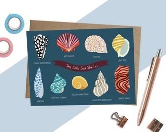 Illustrated Shells Sea Side Card, She Sells Sea Shells, Seaside Card, Nautical Art, Colourful Seaside Cards, Sea Side Illustration, Shells