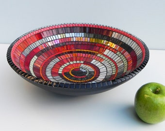 Mosaic Art -Mosaic Bowl, Dish, Platter, Table Decoration in Black, Red, Yellow, White and Gray