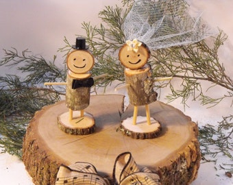 Wedding Cake Topper RealStickpeople BrideGroom RusticWedding Rustic Woodland
