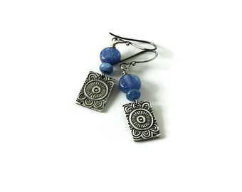 Kyanite and silver boho drop earrings