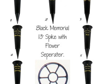 Black Memorial Spike with Gold Lettering