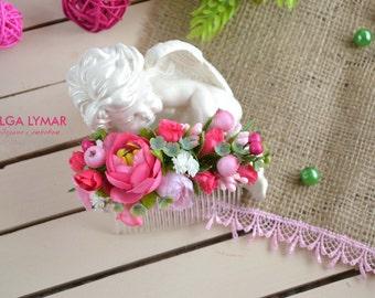 Flower Hair Comb Pink hair comb Flowers Hair Pink Wedding hair accessories Wedding hair comb  Bridal hair accessories