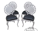 Brown Jordan Hollywood Regency Set of 4 Cart Aluminum Scallop Shell Back Grotto Chairs