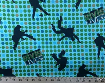 Elvis Presley Fabric ~ By The Fat Quarter ~ Elvis Lives Blue Green Polka Dot Fabric Nursery Cotton Quilting FQ t/s f10