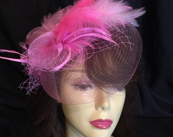 Kentucky Derby fascinator. wedding hat, pink bridal hat, Royal Ascot hat, summer wedding hat, Melborne Hat