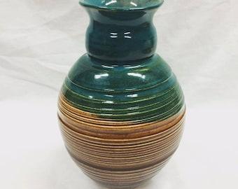 Large Turquoise+Brown Vase