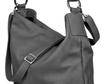 Huge Leather Tote HOBO With Long Strap Dark Grey Color