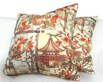 Chinoiserie Asian Japanese Scenic Landscape Oriental Cotton Print Decorative Throw Pillow Cover Case Home Decor Accent Invisible Zipper