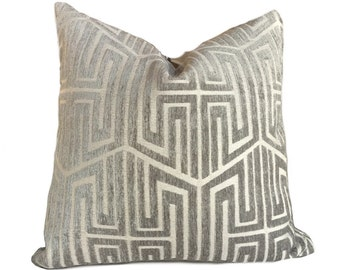 "Designer Modern Asian Geometric Fretwork Taupe Gray Beige Pillow Cushion Zipper Cover, Fits 16"" 18"" 20"" 22"" 24"""