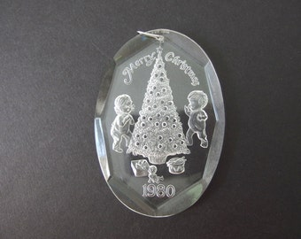 Vintage Christmas Ornament - Clear Acrylic, Engraved Toddlers and Christmas Tree 1980 Ornament