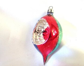 Vintage Christmas Ornament, Small Red, Blue and Green Teardrop Indent Ornament from Poland