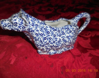 Burleigh Ironstone Blue and White Cow Cream Pitcher Felicity