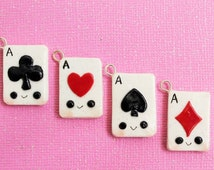 Kawaii set of playing card charms, Polymer clay card charms,aces, spades, hearts,club,diamonds, glitter clay charms,card lovers clay charms
