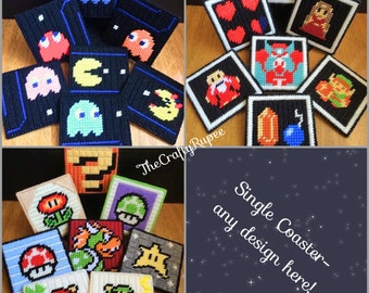 Single Classic Videogame Hand-Stitched Coaster
