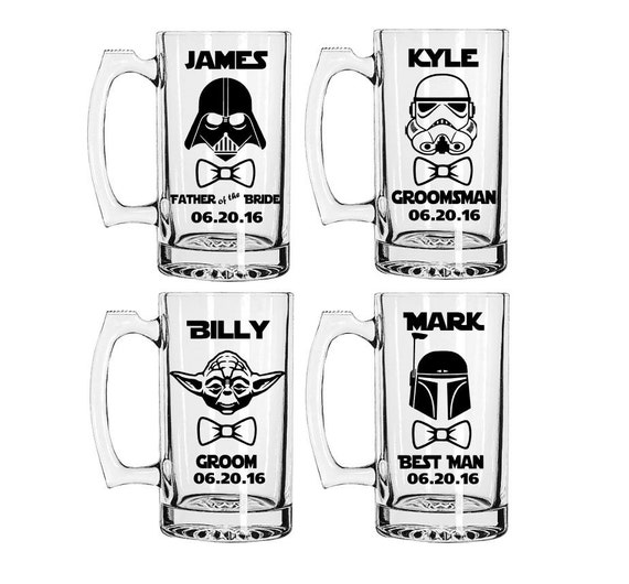 Star Wars Inspired Beer Mugs,Etched or Vinyl Mugs, Groomsmen Gift, Wedding Favors, Darth Vader, Yoda, Wedding Party Beer Mug, Groomsman Gift
