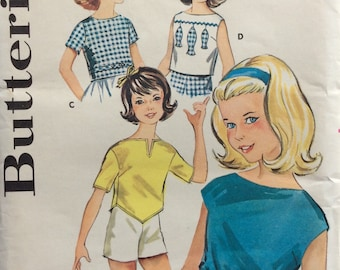 Butterick 9811 girls blouses size 14 bust 32 vintage 1960's sewing pattern  Uncut  Factory folds
