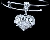 Crystal Heart Sister  Bracelet Alex and Ani style (not Brand) charm and bracelet, Adustable bracelet