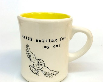 Harry Potter Hedwig Owl mail and Sorting Hat diner style ceramic coffee or tea mug
