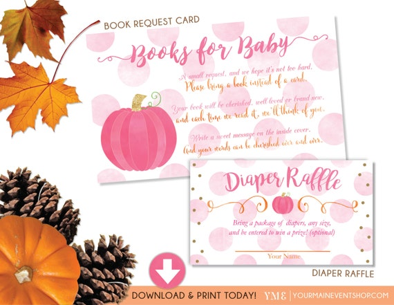 Girl Fall Pumpkin Book Request Card and Diaper Raffle Ticket Bundle • Fall Autumn Pumpkin Baby Shower • Instant Download Printable BS-F-01