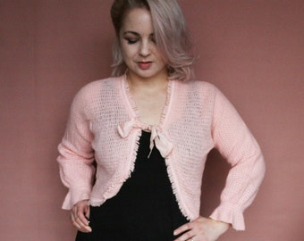 VINTAGE 70s / 80s Peach Knitted CROPPED Night / Bed Cardigan - Size UK 10 / 12 (Code: