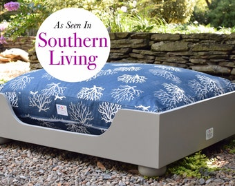 Extra Large Wooden Dog Bed || As seen in Southern Living Magazine || Designer Custom Wood Bed  || NC made by Three Spoiled Dogs