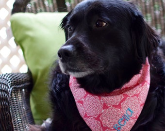 Pink Pet Bandana Ready to Ship    Pineapple Medallions Polka Dots    Reversible Tie Dog Bandanas    Puppy Gift by Three Spoiled Dogs